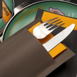 Pochette 10x20 kraft ebene + serviettes Celisoft 28x38 mandarine