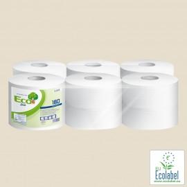 Papier toilette en rouleaux ouate 100% recyclée, 180 m