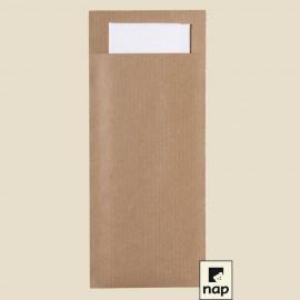 Pochette kraft 8,5 x 20 cm, serviettes ouate 33 x 33 cm